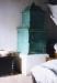 Táblás, türkiz színű cserépkályha (Kisalföld tájegység - Szentendrei Skanzen)